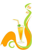 Cocktail green and orange background — Vector de stock