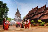 Celebrating Songkran as a buddhist festival — Stock Photo