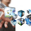 Businessman show a creative box with 3 d streaming images — Stock Photo