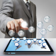 Stock Photo: Business success diagram glass icon