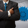 Businessman and gear to success — Stock Photo #12943300