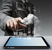 Hand houdt touch pad concept — Stockfoto