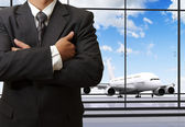 Business man success at the airport — Stock Photo