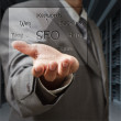 Business man show seo diagram shield in server room — Stockfoto
