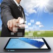 Business man work with virtual green business — Stock Photo