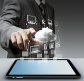 Virtual cloud network concept — Stock Photo