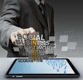 Mano di uomo d'affari tocca il concetto di internet 3d mettalic — Foto Stock