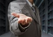 Hombre de negocios mostrar escudo diagrama seo en sala de servidores — Foto de Stock