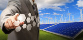 Rtual buttons and wind turbine and solar farm — Stock Photo