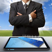 Business man success with green business concept — Stock Photo
