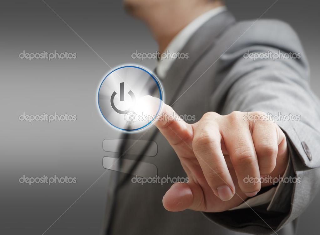 Hand pushing a button on a touch screen interface — Stock Photo #12952931