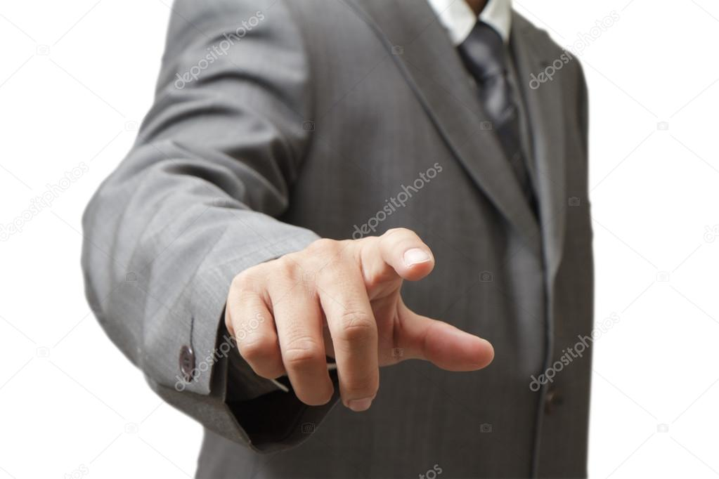 Hand pushing a button on a touch screen interface — Stock Photo #12954987