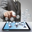 Stock Photo: Business man hand touch business success diagram glass icon