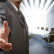 Business man and meeting table background — Stock Photo
