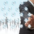 Foto Stock: Businessman and social network structure