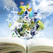 Open book with world season concept - Stock Photo
