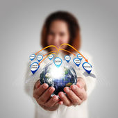 """Businesswoman hand holds globe and social network""""Elements of th — Stock Photo"""