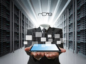 Invisible business man and data server concept — Stock Photo