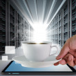 Coffee cup and server room — Stock Photo #12979982
