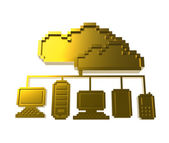 Golden pixel cloud network icon — Stock Photo