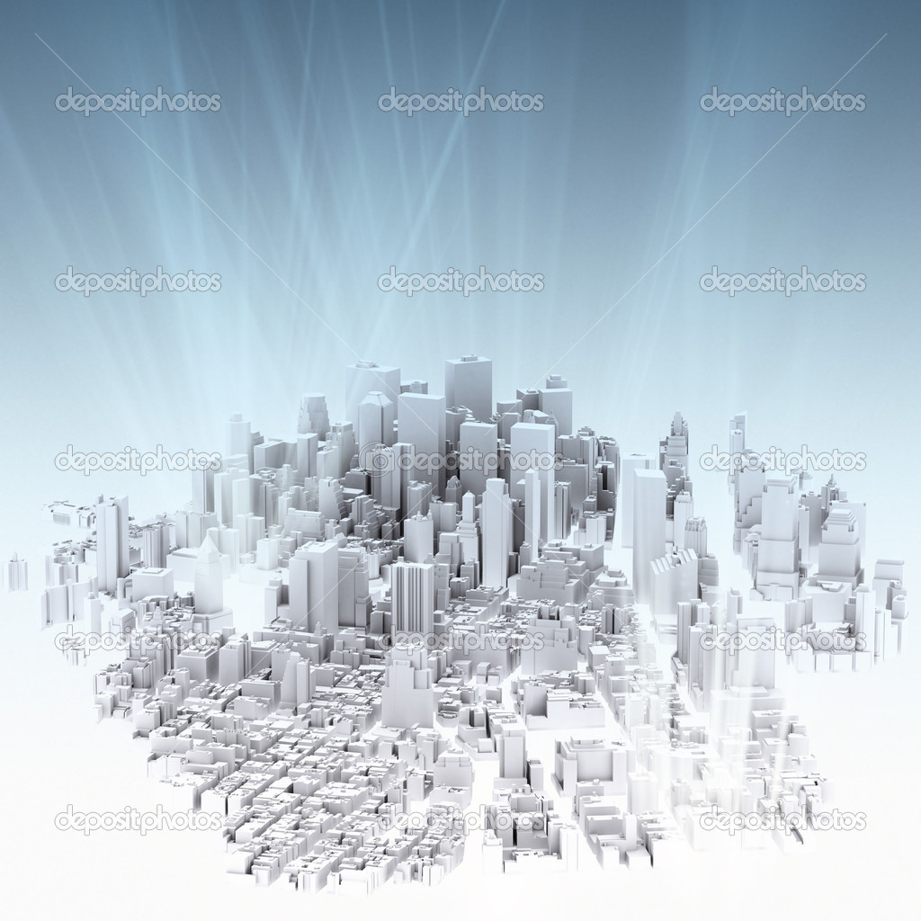 Image of 3d render of city scape and light background  Stock Photo #12975965