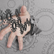 Stock Photo: Hand reach cogs