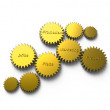 Golden gear with marketing diagram — Stock Photo