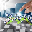 Hand point to social network icon computer room — Stock Photo #12984759