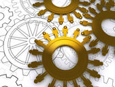 Golden cogs as concept — Stock Photo