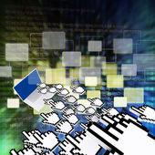 Digitala program kod och knappar bakgrund — Stockfoto