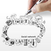 Hand draws a social network — 图库照片