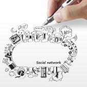 Main dessine un réseau social — Photo
