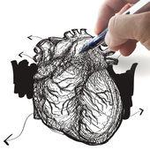Hand draws heart — Stock Photo