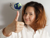 Thumps up with high grow arrow sign with globe — Stock Photo