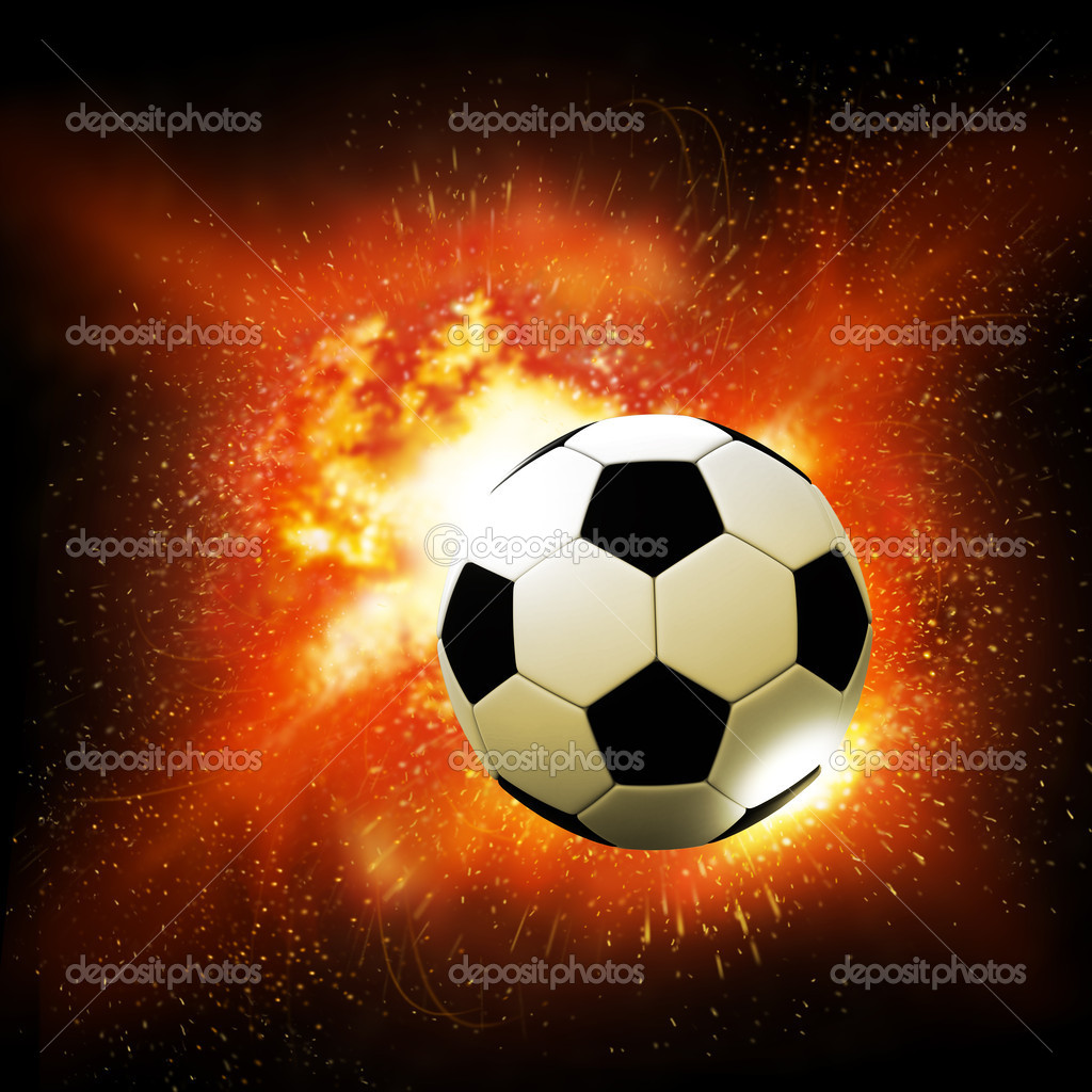 flame soccer ball on fire background — Stock Photo #13002465