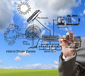 Hibrid güç sistem mühendisi çizer, çoklu kaynaklardan diag birleştirmek — Stok fotoğraf