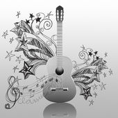 Classical guitar and doodle — Stock Photo