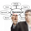 Business man draws success flow chart — Stock Photo #13053148