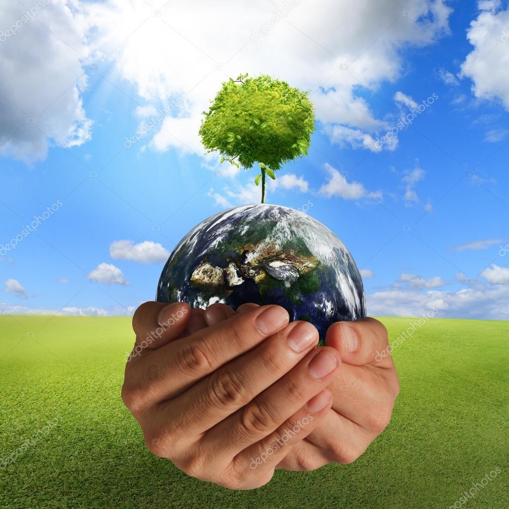 Tree on the earth in hands concept,elements of this image furnished by NASA — Stock Photo #13052762