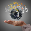 Hand holds globe and social network — Stock Photo #13068108