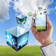 Hand shows touch screen mobile phone with streaming images — Stock Photo #13069572