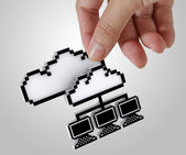 3d pixel cloud network — Stock Photo