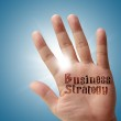Business strategy on his hand — Stock Photo #13083296