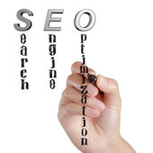 Female hand draw SEO Search Engine Optimization — Stock Photo