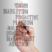 Obchodní muž psaní obchodní strategie — Stock fotografie