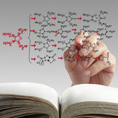 Hand drawing molecule structure — Stock Photo