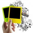 Blank colorful photo frame and doodle background - Stock Photo
