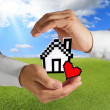 Pixel love house — Stock Photo