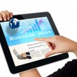 Hands touch screen on tablet pc - Stock Photo