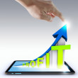 Stock Photo: Hand pointing profit graph on touch screen ,touch- tablet